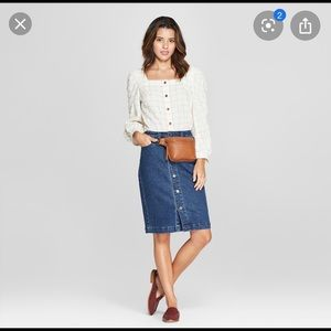 Universal Thread Denim A-Line Skirt with Pockets